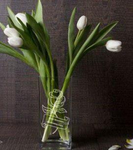 Ваза для цветов с гравировкой