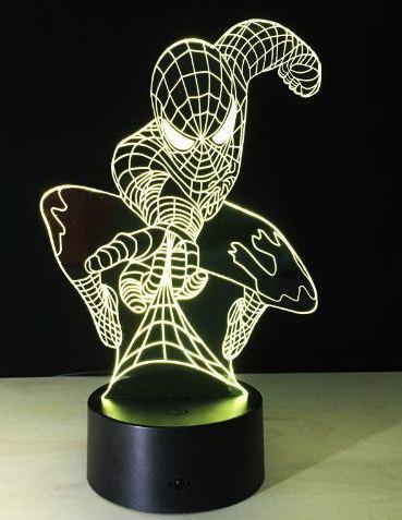 3D светильник человек паук 7 цветов